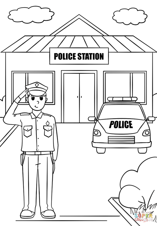 Police Station Coloring Page